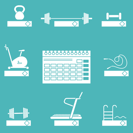 Time to fitness. 2019 fitness concept with sports equipment. Healthy lifestyle. Calendar, weight, barbell, dumbbells, jumpers, treadmill, pool, exercise bike.