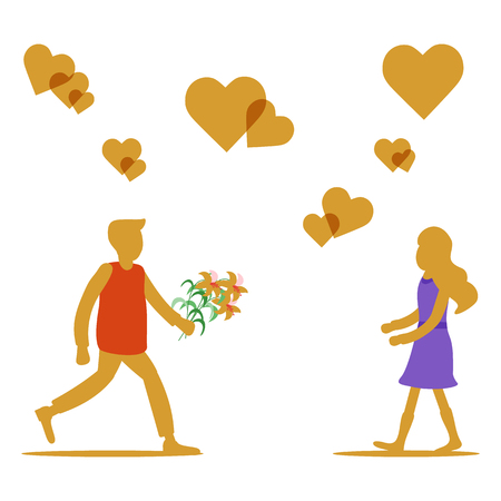 Young man with flowers rushing for a date with woman, hearts. Birthday, Valentine's day, Mother's Day vector background. Design for greeting card, banner, poster or print.