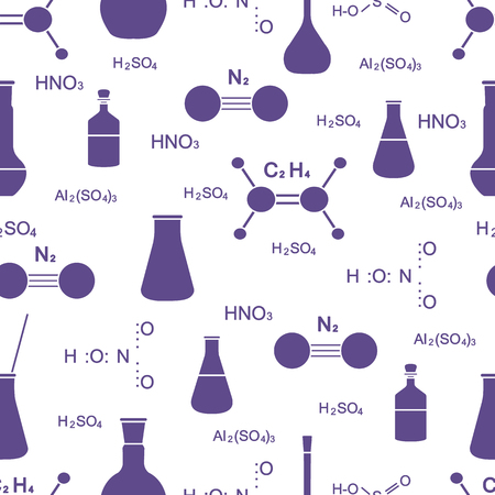 Scientific vector seamless pattern with flasks, beakers, molecule structure and formulas. Education elements. Chemistry, biology, medicine. Vecteurs