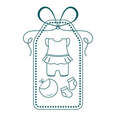 Vektorillustration mit Babykleidung. Lätzchen, Socken, Body. Dinge, die für Neugeborene notwendig sind.