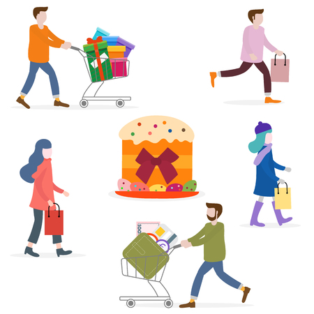 Vector illustration with people go shopping, carry shopping. Easter cake, eggs. Big sale and shopping concept. Design for banner, poster or print.