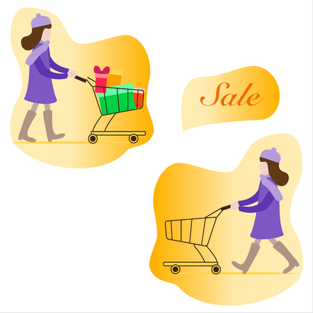 Girl with shopping cart empty and full of gifts. Shopping women. Big Sale. Special Offer. Design concept for banner,  promotional materials, print. Illustration