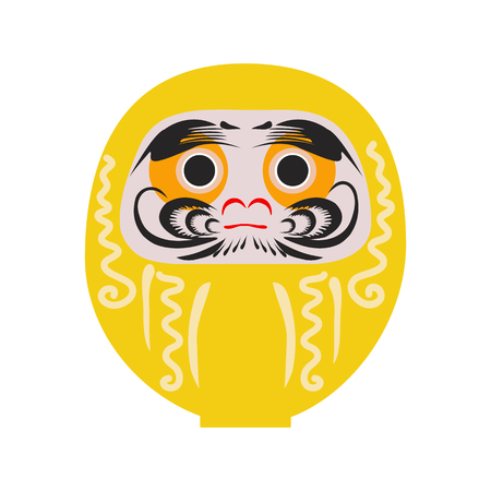 Daruma - Japanese traditional doll. Roly-poly toy. The annual new year's ritual of making a wish. Happy New Year 2019 vector illustration.