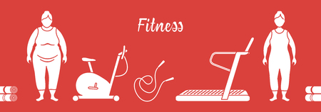 Time to fitness and sports. Healthy lifestyle. Women involved in sports. Slimming. Sports equipment: yoga mats, treadmill, exercise bike, skipping pins. Vecteurs