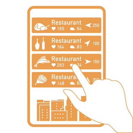 Application of augmented reality: AR for navigation in city or shopping center. Choosing a  restaurant by location, comments and likes by phone.
