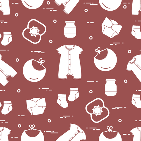 Seamless pattern with goods for babies. Newborn baby background. Bib, baby food can, rattle, socks, diapers, bodysuit. Ilustrace