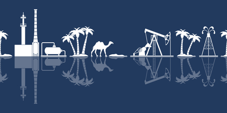 Patrón transparente de vector con equipo para producción de petróleo, planta de refinería, camello, palmeras. Banner de encabezado o pie de página.