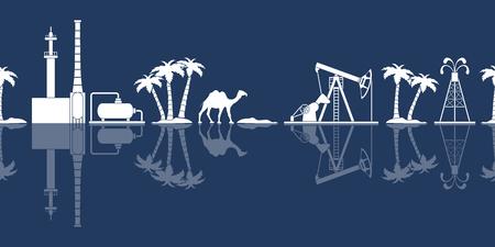 Reticolo senza giunte con attrezzature per la produzione di petrolio, impianto di raffineria, cammello, palme. Banner di intestazione o piè di pagina.