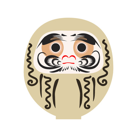 Daruma - Japanese traditional doll.  Roly-poly toy. The annual new years ritual of making a wish. Happy New Year 2019 vector illustration.