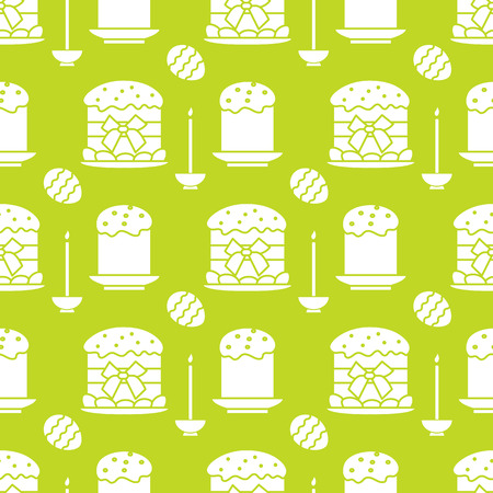 Seamless pattern with Easter cakes, candle, decorated eggs. Happy Easter. Festive background. Design for banner, poster or print.  イラスト・ベクター素材