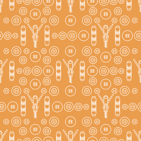 Seamless pattern with zipper, buttons, threads. Sewing and needlework background. Template for design, fabric, print.