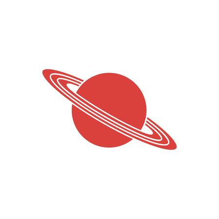 Vector illustration of the planet Saturn with ring system. Design for astronomy apps, websites, print. Ilustração Vetorial
