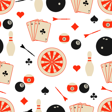 Seamless pattern with bowling pins and bowls, target and arrows for darts, playing cards, billiard balls. Sports background. Design for banner, poster or print.