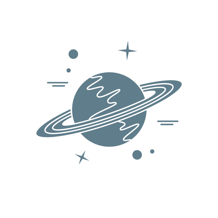 Illustration vectorielle de la planète Saturne avec système d'anneaux. Conception pour les applications d'astronomie, les sites Web, l'impression. Vecteurs