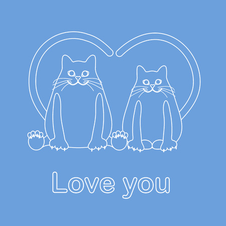 Vector illustration of two cats with heart shaped tails. Love, romantic concept. Happy Valentine's Day. Design for greeting card, party card, banner, poster or print.