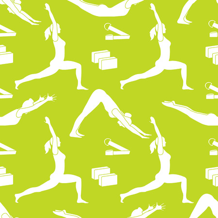 Seamless pattern with women in yoga poses, blocks, belt for yoga. Relax and meditate. Healthy lifestyle. Balance training. Design for banner and print.  イラスト・ベクター素材