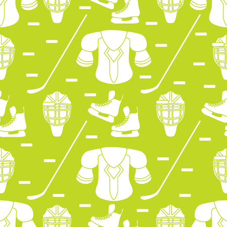 Seamless pattern with skates, goalkeeper mask, hockey stick, ice hockey puck, hockey shoulder pads. Winter sports background. Hockey equipment. Games, hobbies, entertainment.