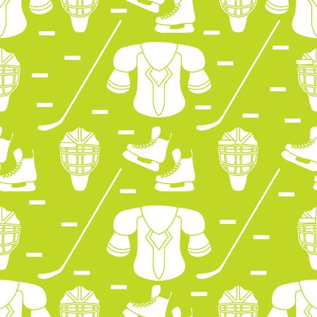 Seamless pattern with skates, goalkeeper mask, hockey stick, ice hockey puck, hockey shoulder pads. Winter sports background. Hockey equipment. Games, hobbies, entertainment.