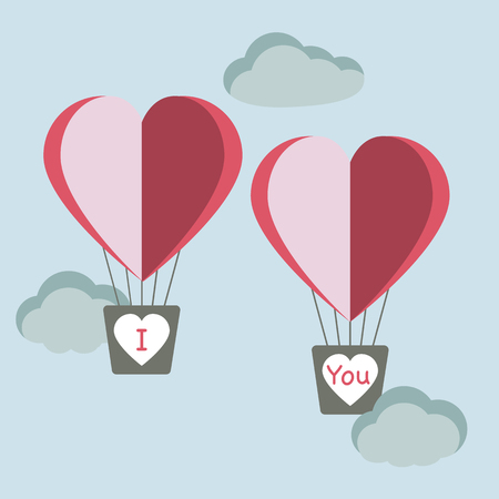 Vector illustration with two heart air balloons. Birthday, Valentine's day romantic background. Design for greeting card, poster or print.