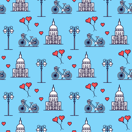 Seamless pattern with famous building, bicycle, lantern, balloons, hearts. Travel and leisure. Valentine's Day. Romantic background.