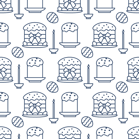 Seamless pattern with Easter cakes, candle, decorated eggs. Happy Easter. Festive background. Design for banner, poster or print. Ilustração