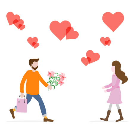 Man with flowers and gift rushing for a date with woman, hearts. Birthday, Valentine's day, Mother's Day vector background. Design for greeting card, banner, poster or print.