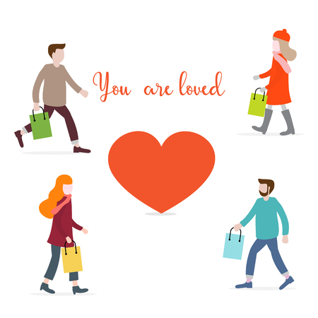 Vector illustration with people carry purchases, gifts for loved ones and heart. Inscription you  are loved. Love message. Greeting card happy Valentine's Day. Romantic background.