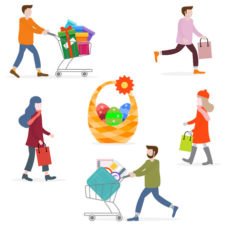 Vector illustration with people go shopping, carry shopping. Easter basket with eggs. Big sale and shopping concept. Design for banner, poster or print.