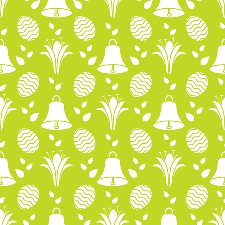 Seamless pattern with bells, lilies, decorated eggs. Happy Easter. Festive background. Design for banner, poster or print.