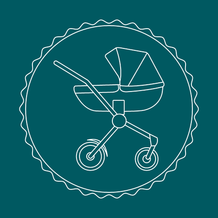 Vector illustration with baby carriage. Things necessary for newborns. Pram. Baby stroller.