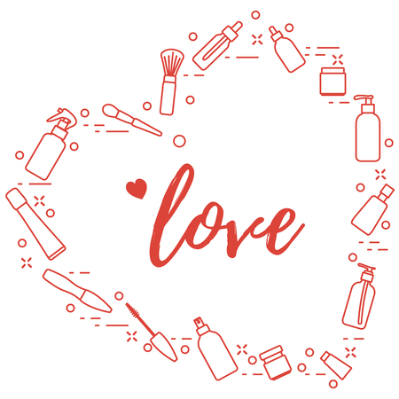 Cosmetics and care products arranged in heart shape. Glamour fashion vogue style. Ilustração