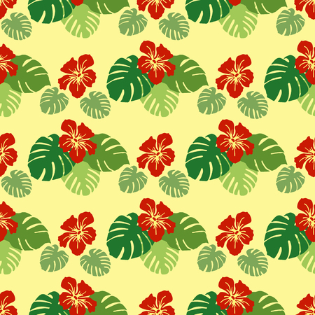Seamless pattern with monstera leaves and hibiscus flowers. Tropical background. Design for banner, poster, textile, print.