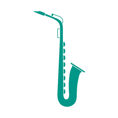 Vector illustration with saxophone. Classical music wind instrument.