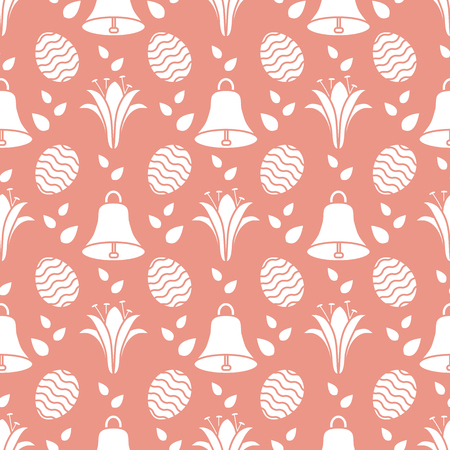 Seamless pattern with bells, lilies, decorated eggs. Happy Easter. Festive background. Design for banner, poster or print. Ilustração