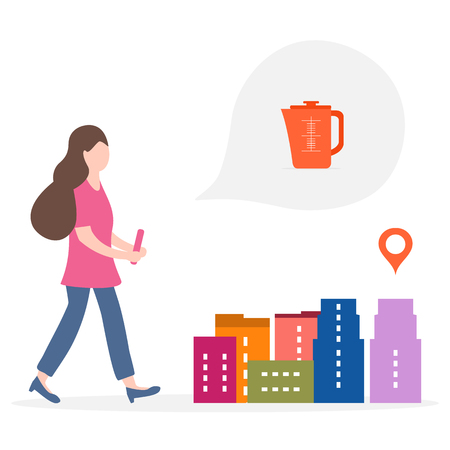 Application of augmented reality: AR for navigation in city. Girl with modern device plans to buy home appliances in the store in city. Navigation pointers to shops. Foto de archivo - 125326395