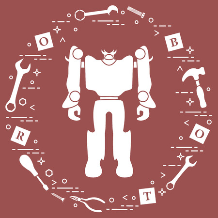 Robot, cubes with letters, toy tools (screwdriver, wrench, screw, hammer). Toys for children. Robotics, technologies. Design for banner, poster or print. Illustration