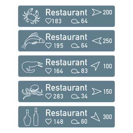 Application of augmented reality: AR for navigation in city or shopping center. Choosing fish restaurant by location, comments and likes. Foto de archivo - 125326418