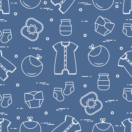 Seamless pattern with goods for babies. Newborn baby background. Bib, baby food can, rattle, socks, diapers, bodysuit.