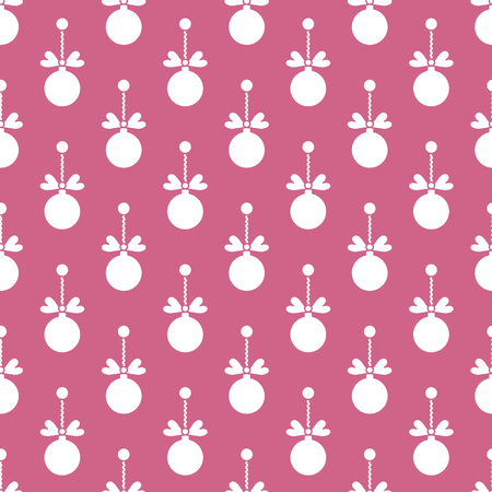 Happy New Year 2019 and Christmas seamless pattern. Winter illustration with Christmas balls. Design for banner, poster or print.