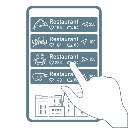 Application of augmented reality: AR for navigation in city or shopping center. Choosing fish restaurant, seafood restaurant by location, comments and likes by phone. Foto de archivo - 125326443