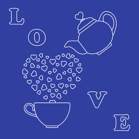 Vector illustration with kettle, cup of tea, hearts. Happy Valentines Day. Design for party card, banner, poster or print. Illustration