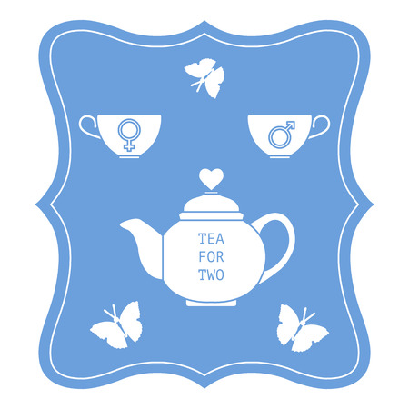 Vector illustration with teapot and two cups of tea with gender signs, butterflies. Tea for two. Happy Valentines Day. Design for party card, banner, poster or print.