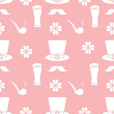 Seamless pattern with clover leaves, mustache, glass of beer, hat, smoking pipe. St. Patrick's Day. Holiday background. Irish vector pattern. Design for banner, poster, textile, print. 스톡 콘텐츠 - 125326456