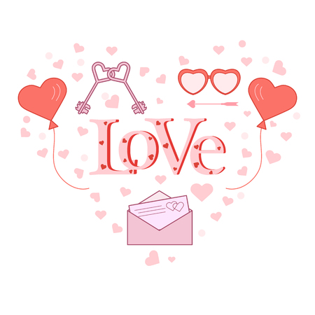 Balloons, keys, envelope with letter, glasses in the shape of a heart. Inscription love with hearts. Birthday, Valentines day vector background. Illusztráció