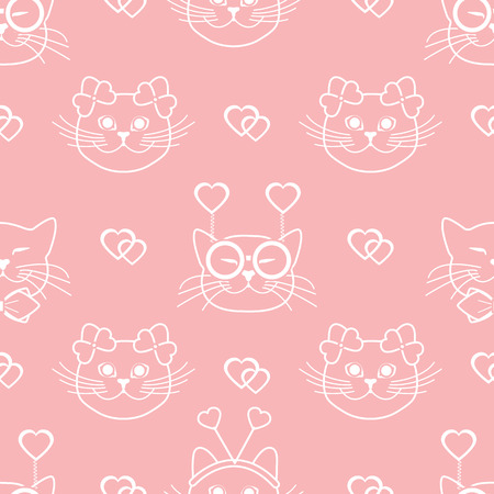 Seamless pattern with muzzle of cats in carnival masks, glasses, tie, bows, headbands and hearts. Greeting card happy Valentine's Day. Romantic background. Carnival festive concept.