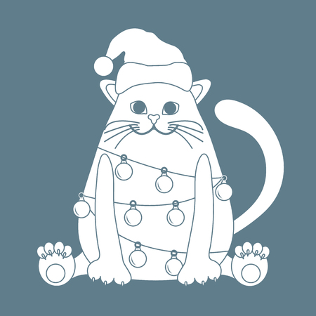 Happy New Year 2019 and Christmas vector illustration. Cat in a Christmas hat with a garland of light bulbs.