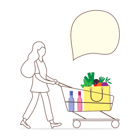 Vector illustration with woman carrying a shopping cart with food and drinks from the supermarket. Shopping concept. Design for announcement, advertisement, banner or print. Banque d'images - 125326494