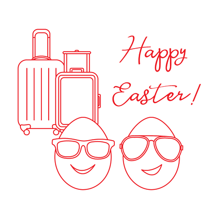 Vector illustration with two eggs, sunglasses, suitcases. Inscription Happy Easter. Greeting card.