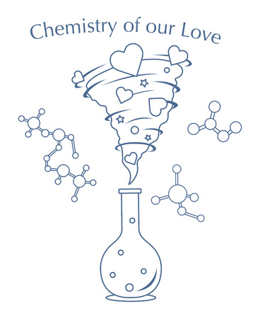Vector illustration with flask, hearts tornado. Love emotions. Inscription chemistry of our love. Love message. Happy Valentines Day. Romantic background.