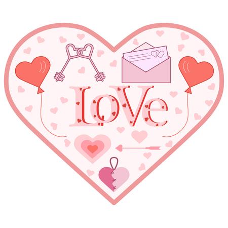 Balloons, keys, envelope with letter, arrow, needle bed in the shape of a heart. Inscription love with hearts. Birthday, Valentines day vector background. Ilustrace